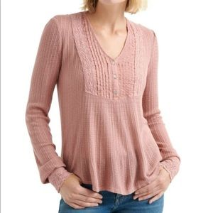 Lucky Brand Henley Lace Top